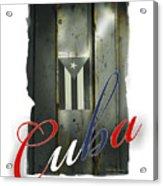 Cuban Flag On Door Acrylic Print