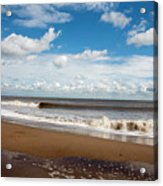Cumulus Clouds Passing Across The Beach At Skegness Lincolnshire England Acrylic Print