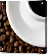 Cup Of Black Coffee On Coffee Beans Acrylic Print