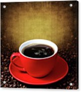 Cup Of Coffee On Grunge Textured Background Acrylic Print