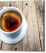 Cup Of Hot Tea On Wood Table Acrylic Print
