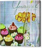 Cupcakes And Gaufrettes Beside A Candle Acrylic Print