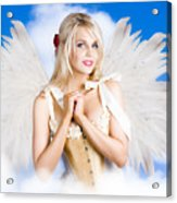 Cupid Angel Of Love Flying High With Fairy Wings Acrylic Print