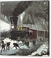 Currier And Ives Acrylic Print by American Railroad Scene