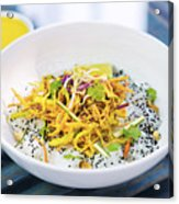 Curry Sauce Vegetable Salad With Noodles And Sesame Acrylic Print