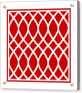 Curved Trellis With Border In Red Acrylic Print