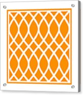 Curved Trellis With Border In Tangerine Acrylic Print
