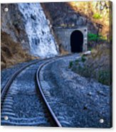 Curves On The Railways At The Entrance Of The Tunnel Acrylic Print