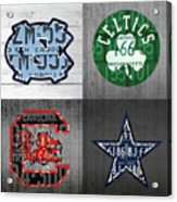 Custom 4 Team License Plates Sport Art No 1 Acrylic Print