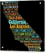 Custom Silhouette Art Print, Pop Art California Map, Modern Style Country Map, Country Maps For Home Acrylic Print