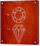 Cut Diamond Patent From 1873 - Red Acrylic Print