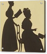 Cut Silhouette Of Two Women Facing Right 1837 Acrylic Print