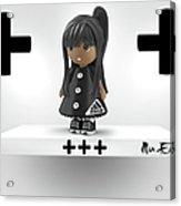 Cute 3d Girl On Shelf In Black Acrylic Print