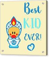 Cute Art - Blue, Beige And White Folk Art Sweet Angel Bird In A Nesting Doll Costume Best Kid Ever Wall Art Print Acrylic Print