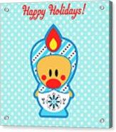 Cute Art - Blue Polka Dot Happy Holidays Folk Art Sweet Angel Bird In A Nesting Doll Costume Wall Art Print Acrylic Print