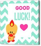 Cute Art - Sweet Angel Bird Light Teal Good Luck Chevron Wall Art Print Acrylic Print