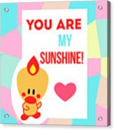 Cute Art - Sweet Angel Bird Pastel Colorblock You Are My Sunshine Wall Art Print Acrylic Print