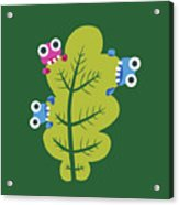Cute Bugs Eat Green Leaf Acrylic Print