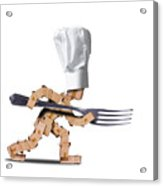 Cute Chef Box Character With Big Fork Acrylic Print