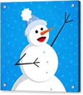 Cute Happy Snowman Acrylic Print