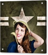 Cute Military Pin-up Woman On Army Star Background Acrylic Print by Jorgo Photography - Wall Art Gallery