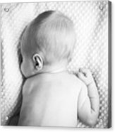 Cute Newborn Baby Black And White Acrylic Print