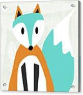 Cute Orange And Blue Fox- Art By Linda Woods Acrylic Print