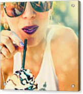 Cute Retro Girl Drinking Milkshake Acrylic Print