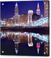 Cuyahoga Reflecting The City Above Acrylic Print