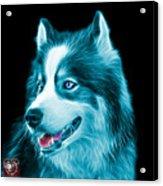 Cyan Modern Siberian Husky Dog Art - 6024 - Bb Acrylic Print