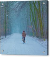 Cycling In The Snow Acrylic Print