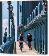 Cycling The Bridge Acrylic Print