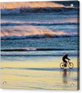 Cyclist Pedals Against The Wind At Pismo Beach Acrylic Print