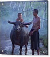 Dad And Child Happy To Live In The Countryside,thailand, Vietnam Acrylic Print