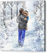 Dad And Child In The Winter Snow Acrylic Print