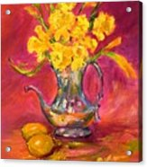 Daffodils And Teapot Acrylic Print by Barbara Pirkle