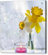 Daffodils And The Candle Acrylic Print