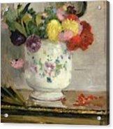 Dahlias Acrylic Print by Berthe Morisot