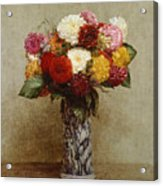 Dahlias In A Chinese Vase Acrylic Print