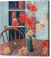 Dahlias With Red Cup Acrylic Print