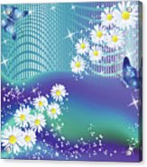 Daisies And Butterflies On Blue Background Acrylic Print