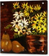 Daisies And Pears Acrylic Print