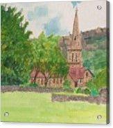 Edale Church And Beautiful Landscape Acrylic Print
