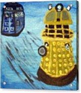 Dalek On Blue Acrylic Print