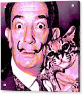 Dali With Ocelot And Cane Acrylic Print