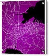 Dalian Street Map - Dalian China Road Map Art On A Purple Backgro Acrylic Print