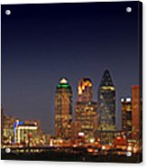 Dallas Skyline At Dusk Big Moon Night  Acrylic Print