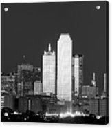 Dallas Skyline Bw 113017 Acrylic Print