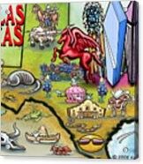 Dallas Texas Cartoon Map Acrylic Print