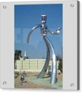 Dallas Tx Statute Thin Tin Man Thru A Window Acrylic Print